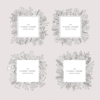 Doodle style floral frames with wildflowers.