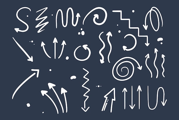 Doodle style hand drawing. arrows of different shapes, pointers. isolated vector illustration.