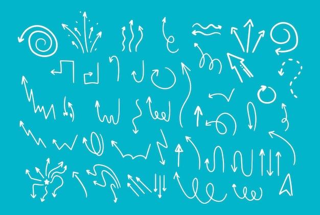 落書き風手描き。さまざまな形の矢印、ポインター。孤立したベクトル図。