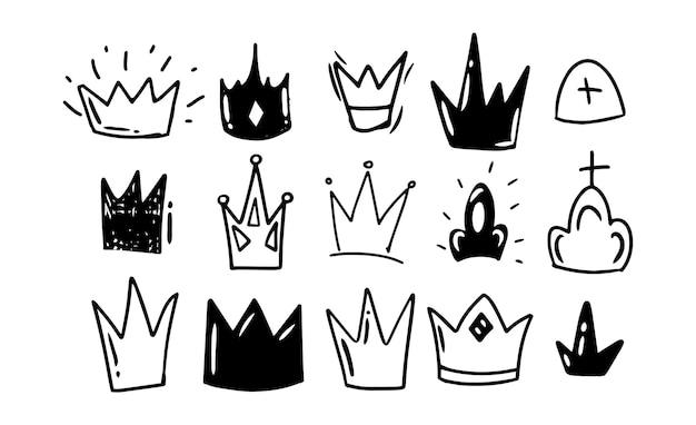 落書き風手描き。黒と白の王冠、さまざまな形。孤立したベクトル図。