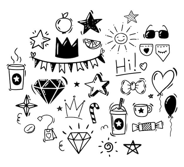 Каракули стиль рука рисунок черно-белые рисунки праздника дня рождения изолированных вектор