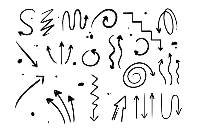 Doodle style hand drawing black and white arrows of different shapes pointers isolated vector