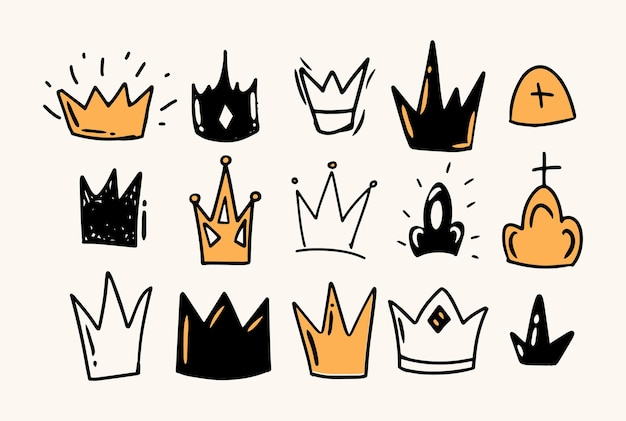 Doodle style hand drawing. colored crowns, different shapes. isolated vector illustration.