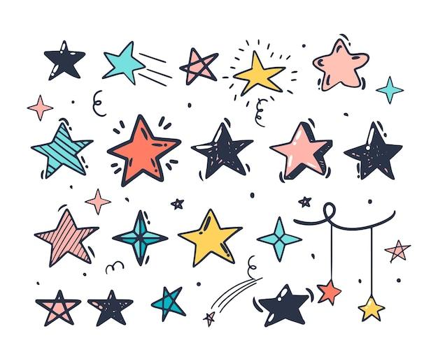 낙서 스타일 손 그리기. 다른 모양의 색된 별입니다. 격리 된 벡터 일러스트 레이 션.