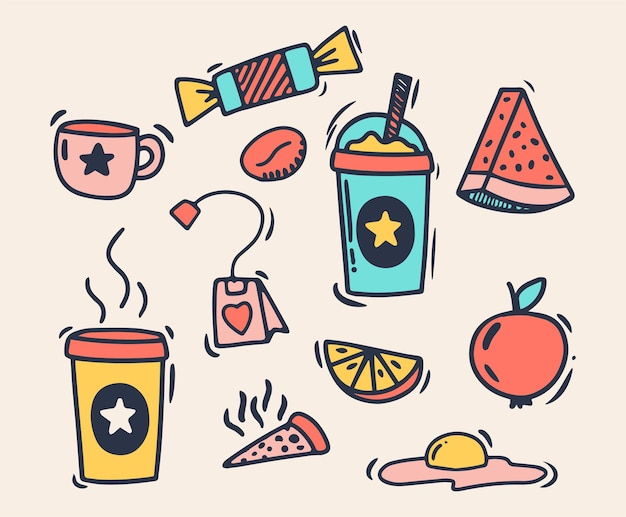 Doodle style hand drawing. food and drink. isolated vector illustration.