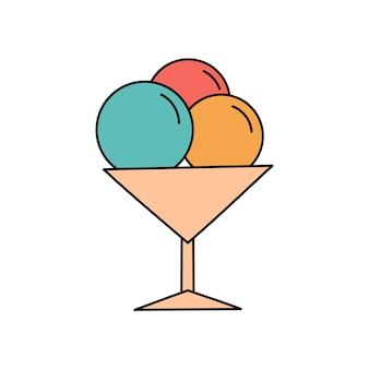 落書き風アイスクリーム。夏の氷のような甘いデザート。白い背景で隔離の簡単なイラスト。夏のアイコン