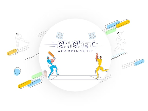Doodle style illustration of batsman and bowler player in playing pose on white abstract background for cricket championship.