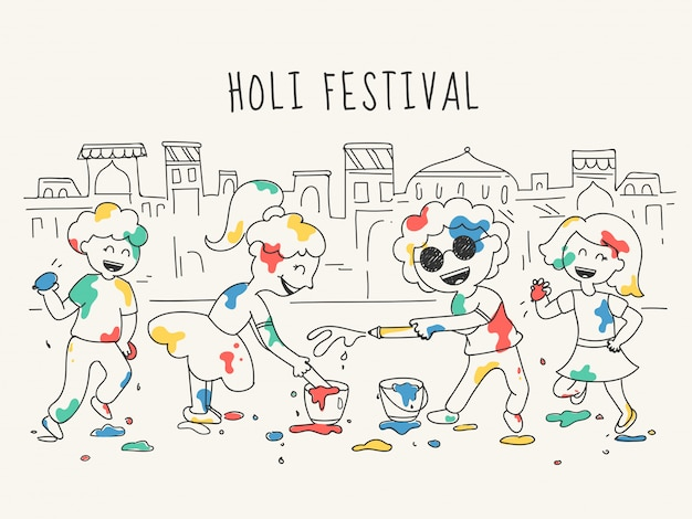 Doodle style illustration of happy kids character celebrating holi festival in front of house cities.