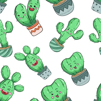 Doodle style of kawaii cactus in seamless pattern with cute face
