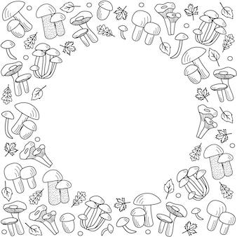 落書きスタイルのキノコアイコンベクトル。ポルチーニ、アンズタケ、ハニーアガリック、シャンピニオン、アスペンマッシュルーム、ベニタケのイラスト。