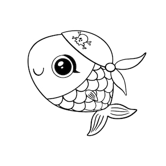 Doodle style pirate fish isolated on white  . animal pirates coloring page