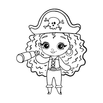 낙서 스타일 해적 소녀 흰색 절연입니다. 색칠 공부 페이지 해적 소녀