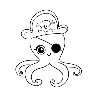 Doodle style pirate octopus isolated on white  . animal pirates coloring page