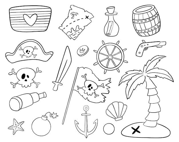 낙서 스타일 해적 격리 설정합니다. 해적 색칠하기