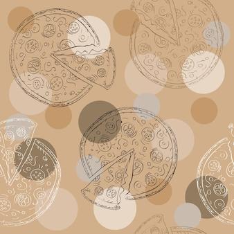 Каракули стиль пиццы ломтик бесшовные векторные фон