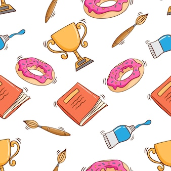 Doodle style school supplies in seamless pattern with doodle style