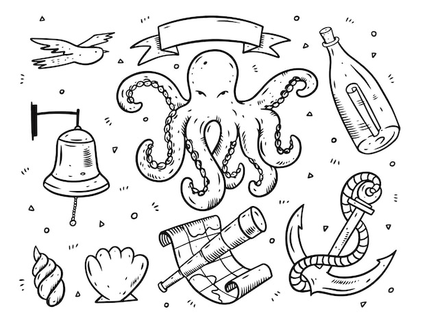 Doodle style sea elements set.