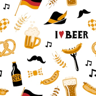 Doodle style seamless pattern with beer and food.