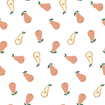 Doodle style seamless pattern with pears.