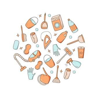 Элементы очистки вектора стиля каракули. набор чертежей чистящих средств и предметов. комплект для мытья комнат.
