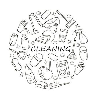 낙서 스타일 벡터 청소 요소입니다. 청소 제품 및 항목의 도면 세트. 방 세척 키트.
