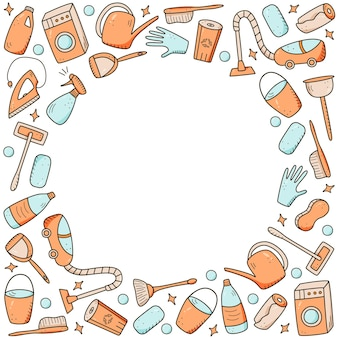 Doodle style vector cleaning elements. a set of drawings of cleaning products and items. room washing kit.