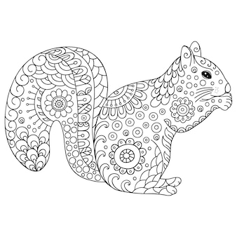 Doodle stylized squirrel. hand drawn  illustration doodle animal.