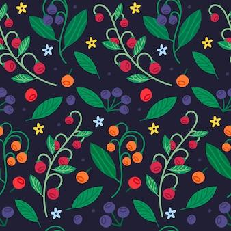 낙서 여름 딸기와 잎 원활한 패턴