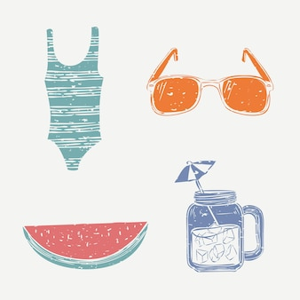 Doodle summer by the beach illustration set