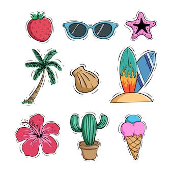 Doodle summer icons collection with coconut tree ice cream and cactus