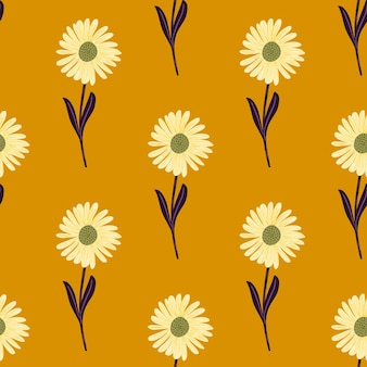 국화 꽃 요소 장식으로 낙서 여름 완벽 한 패턴입니다. 오렌지 배경.