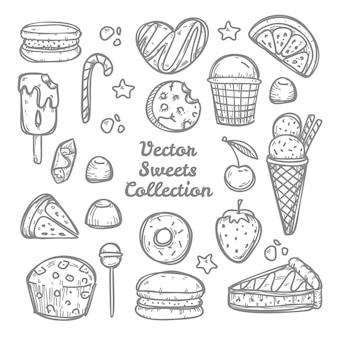 Doodle sweets and candies collection. hand drawn illustration