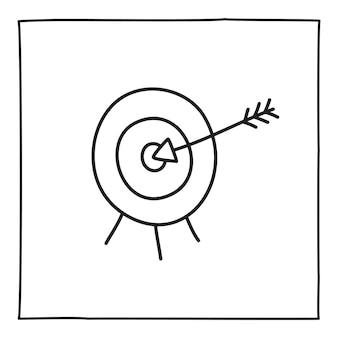 ターゲットアイコンまたはロゴを落書きし、細い黒い線で手描きします。白い背景で隔離。ベクトルイラスト