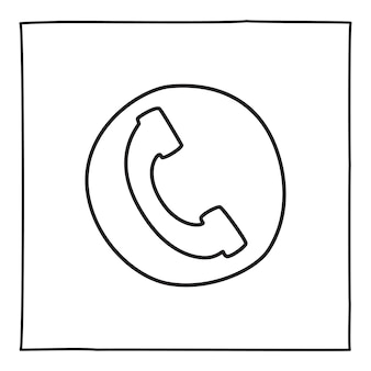 Doodle telephone call icon or logo, hand drawn with thin black line. isolated on white background. vector illustration