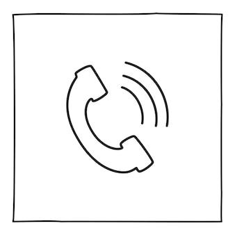 Doodle 전화 통화 아이콘 또는 로고, 얇은 검은색 선으로 손으로 그린 흰색 배경에 고립. 벡터 일러스트 레이 션
