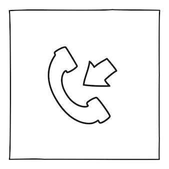 Doodle 전화 수신 전화 아이콘 또는 로고, 얇은 검은색 선으로 손으로 그린 흰색 배경에 고립. 벡터 일러스트 레이 션