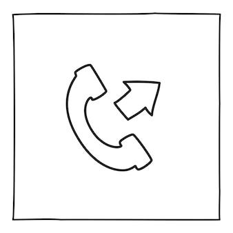 Doodle 전화 발신 전화 아이콘 또는 로고, 얇은 검은색 선으로 손으로 그린 흰색 배경에 고립. 벡터 일러스트 레이 션