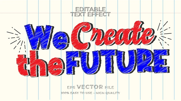 Doodle text effect editable marker text style