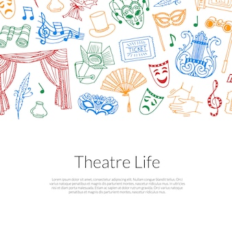Doodle theatre elements background illustration with place for text