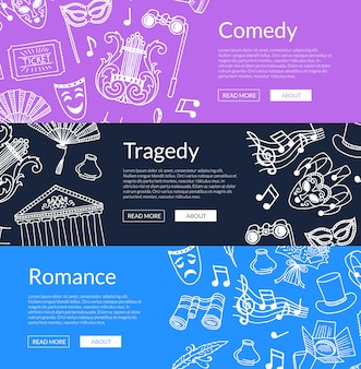 Doodle theatre elements horizontal web banner illustration