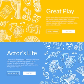 Doodle theatre elements set of web banners great play illustration
