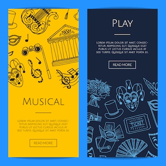 Doodle theatre elements vertical web banners concept illustration