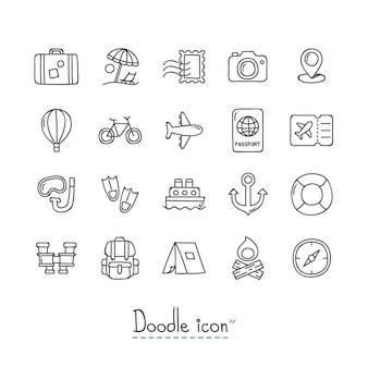 Doodle travel icons.