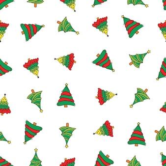 落書きの木のクリスマスのパターン