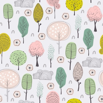 Doodle trees kids hand drawn pattern