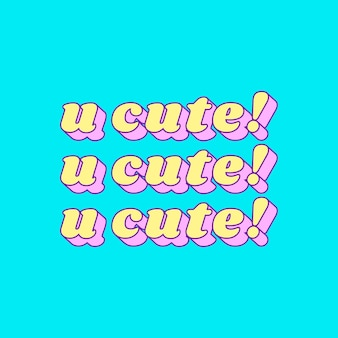 Doodle u cute! word on a blue background