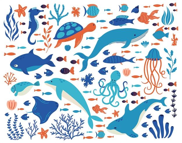 Doodle underwater animals. ocean creatures, hand drawn marine life, dolphin, whale, turtle, octopus, corals, sea plants  illustration set. underwater sea drawing animals wildlife