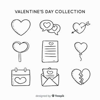 Doodle valentine label collection