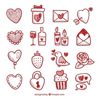 Коллекция элементов дня doodle valentine