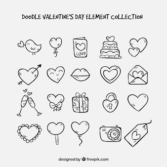 Doodle valentine's day element collection